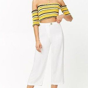 🏷️F21 | White Cropped Pants / Sz: Large